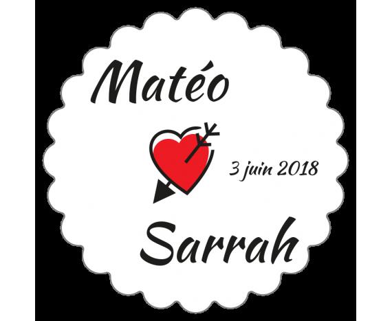 étiquette dragées mariage avec petit coeur