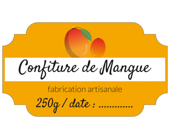 étiquette confiture mangue orange