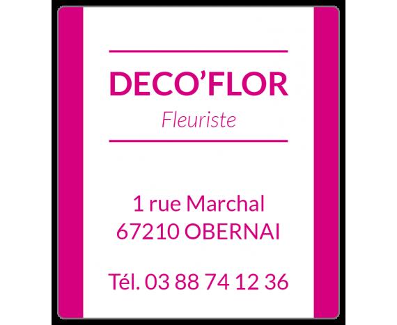 étiquette rose et blanche fleuriste