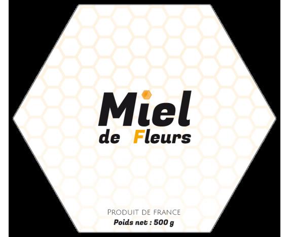 étiquette miel de fleurs 500g hexagone