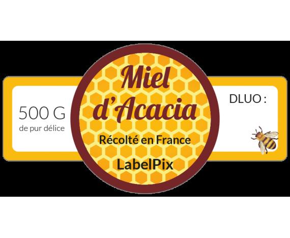 étiquette pot de miel acacia 500g