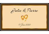 étiquette de mariage rectangle avec bord brun