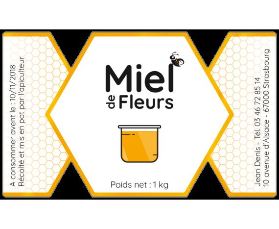 étiquette de miel forme de bonbon