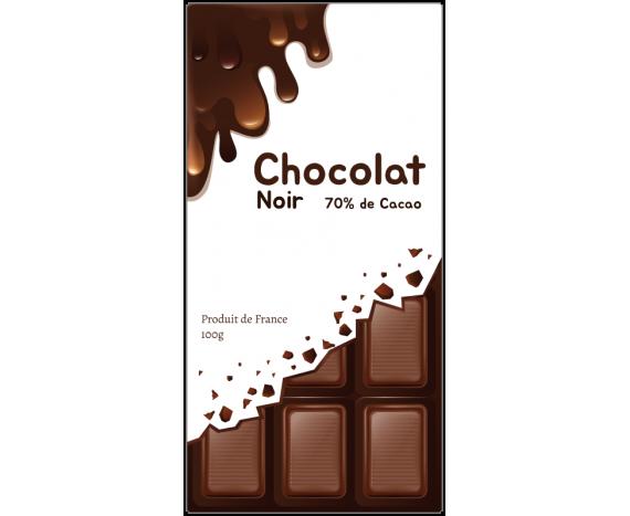 étiquette de chocolat fond blanc