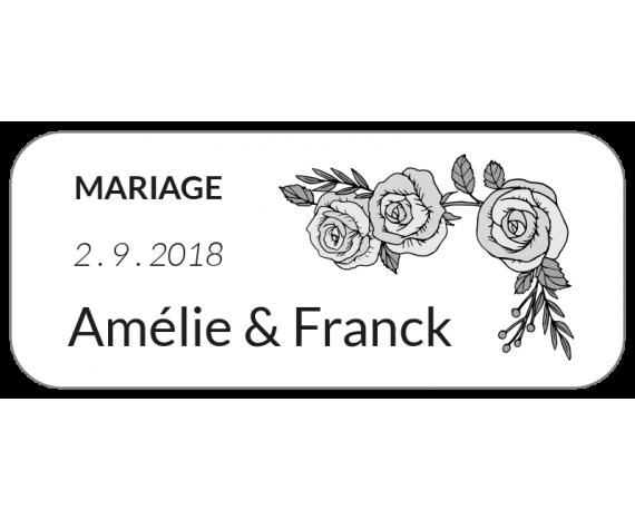 étiquette mariage dragées avec roses N&B