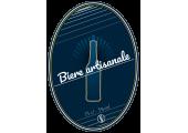 étiquette de bière artisanale fond bleu