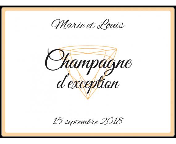 étiquette de Champagne pour mariage avec diamant