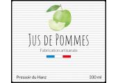 étiquette jus de pommes artisanal 330 ml