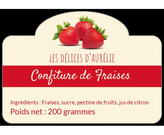 Étiquettes autocollantes confiture de fraise