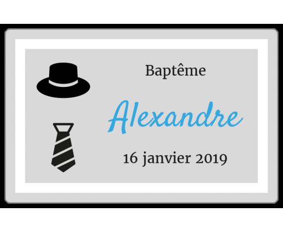 autocollant baptême personnalisé chapeau et cravate