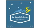 étiquette bière bleue avec snowboarder