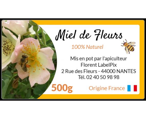 étiquette miel de fleurs en bobine