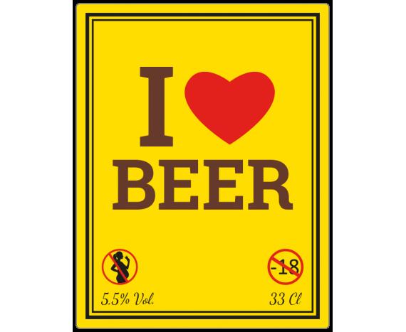 étiquette autocollante I love beer