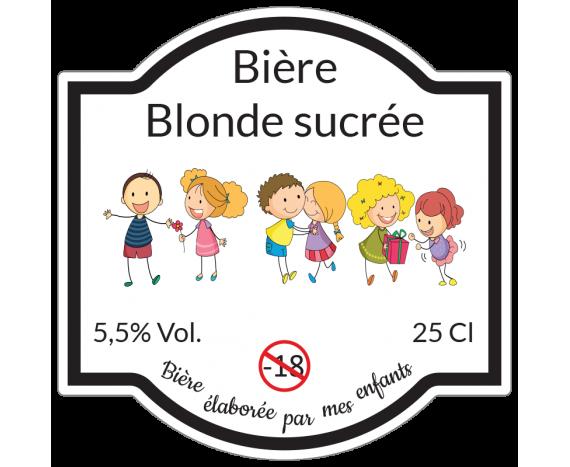étiquette bière blonde sucrée par enfants