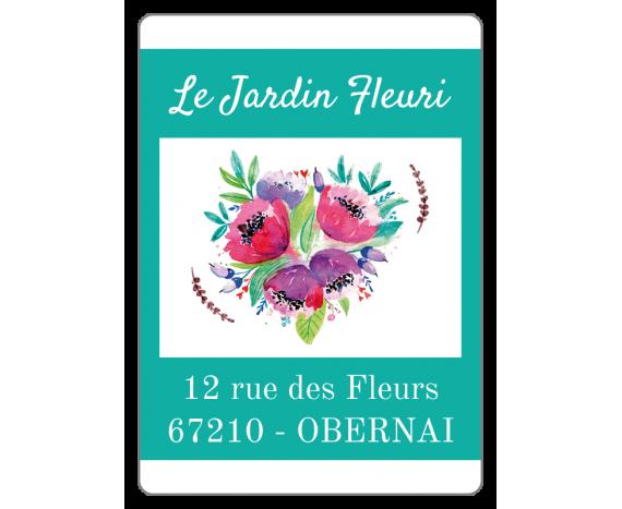 étiquette fleuriste turquoise et fleurs pastelles
