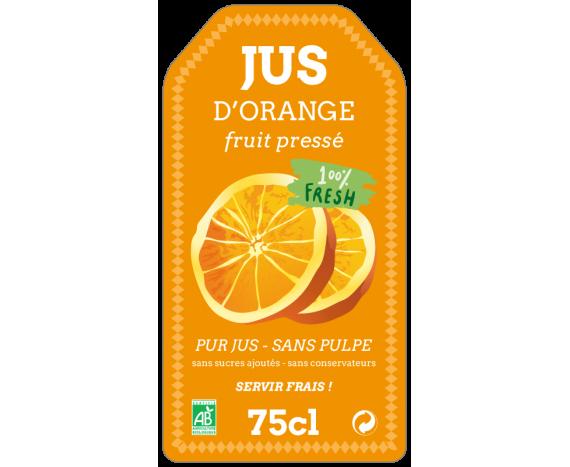 étiquette autocollante pur jus d'orange