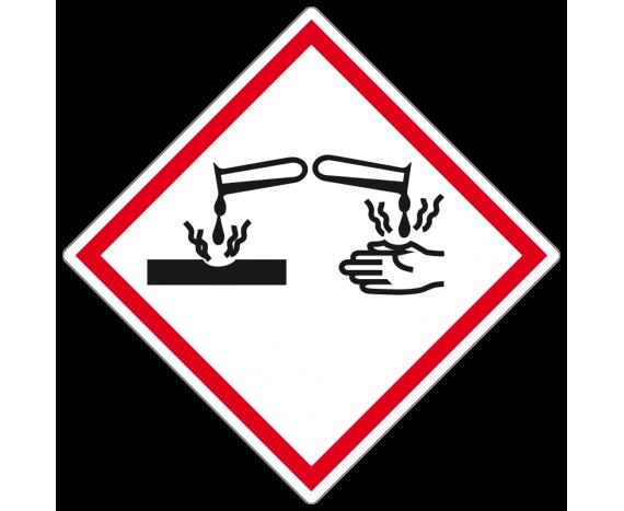 Autocollant signalisation produit corrosif