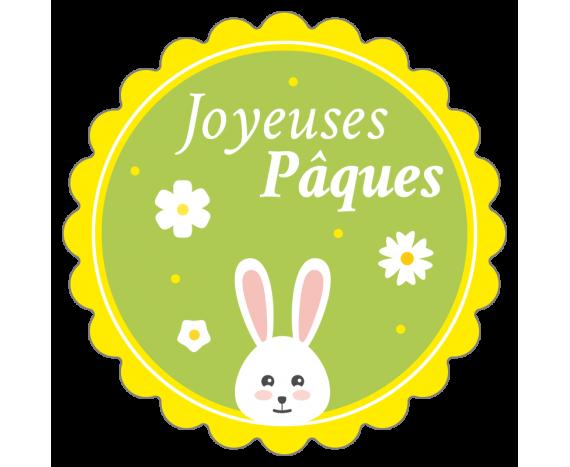 étiquette Joyeuses Pâques verte avec lapin